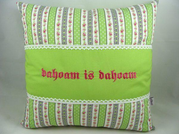 """Kissen """"dahoam is dahoam"""" hellgrün 40x40cm"""