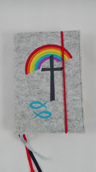 Gotteslobeinband Regenbogen -hellgrau