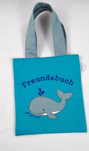 Freundebuchtasche mit Wal