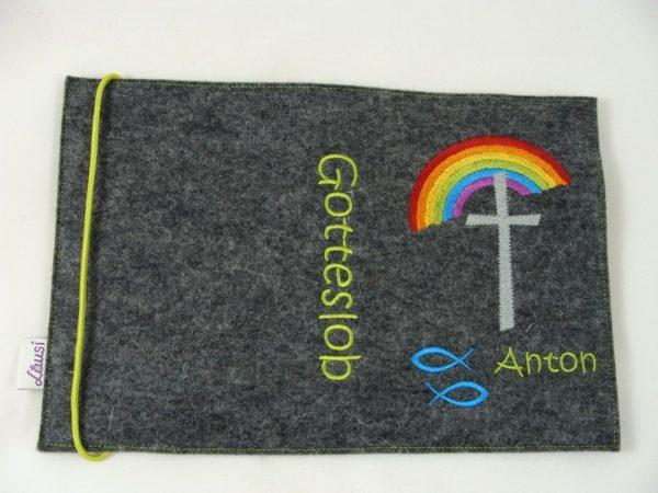 Gotteslobeinband Regenbogen -mittelgrau
